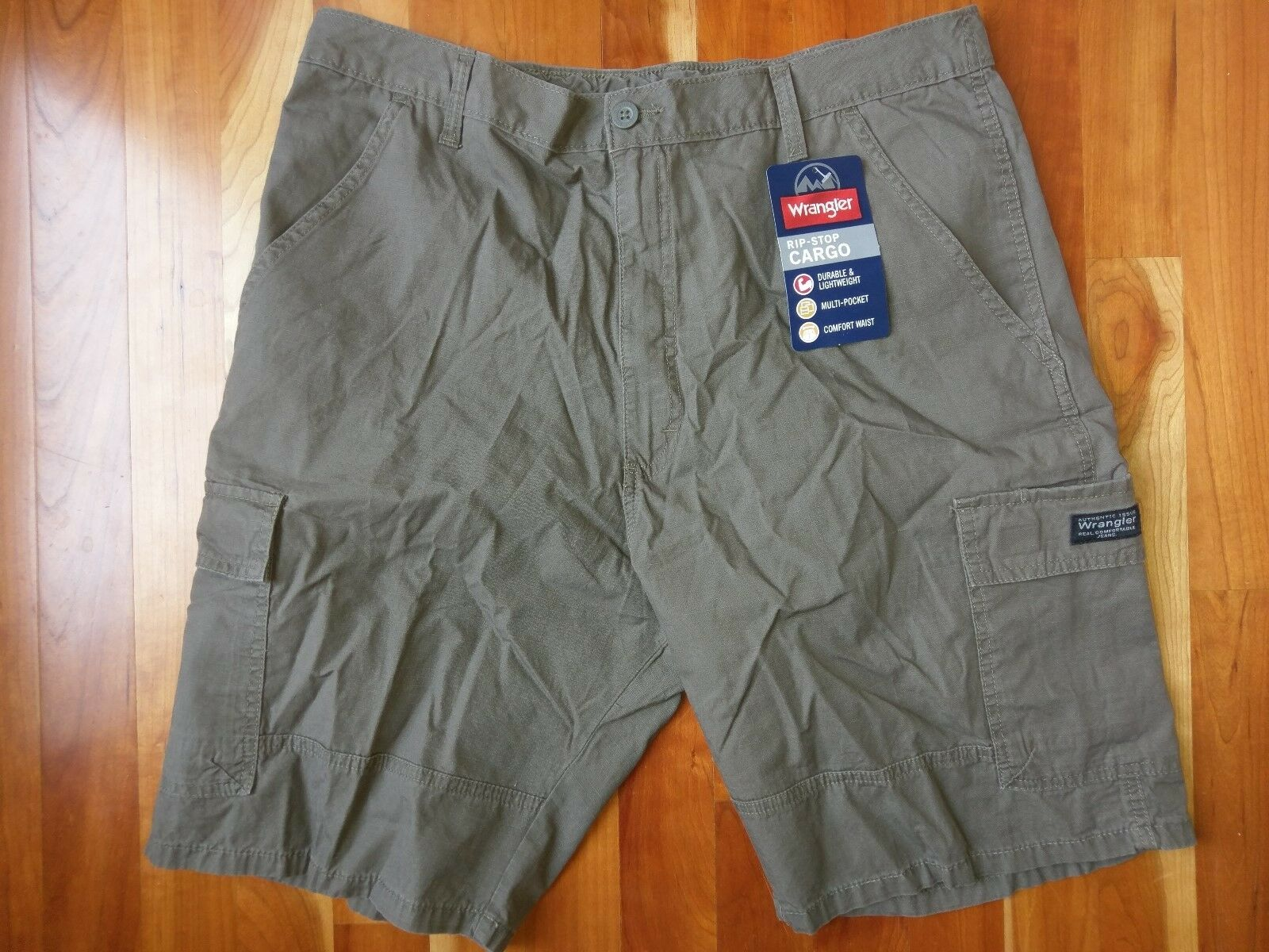 Wrangler Men Sz 36 Cargo Short Cotton Tan Brown Khaki Hiking Flat Front Rip Stop