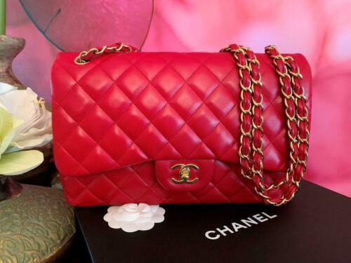 Authentic Chanel Classic Jumbo Red Lambskin Doubl… - image 1