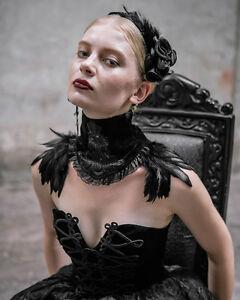 Devil-Fashion-Halskette-Chokerkragen-Schwarzem-Samt-Spitze-Feder-Halskette