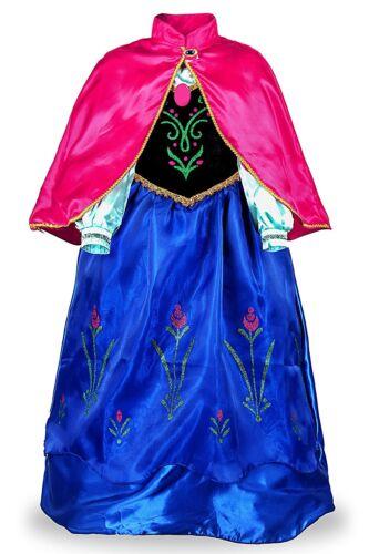 Anna Costume Dress Girls Princess Dress with Cloak Queen Cosplay Party Dress