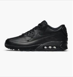 c6b4316d144 Nike Air Max 90 Leather Shoes Triple Black 302519-001 Men s Multi ...