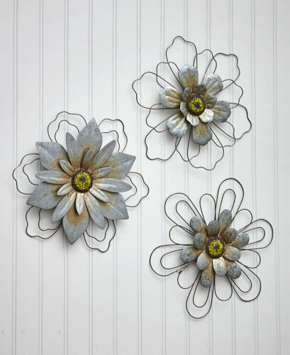 SET OF 3 RUSTIC GALVANIZED WIRE METAL INDOOR OUTDOOR FLOWERS WALL HOME DECOR