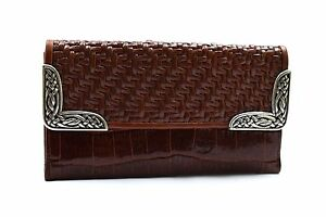 Brighton-Brown-Peanut-Woven-Leather-Clutch-Wallet-Silver-Detail-NEW