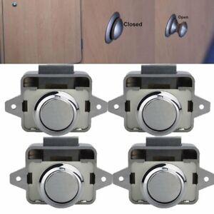 10X Push Button Catch Lock Cabinet Door Knob Camper Caravan Motorhome Boat Home