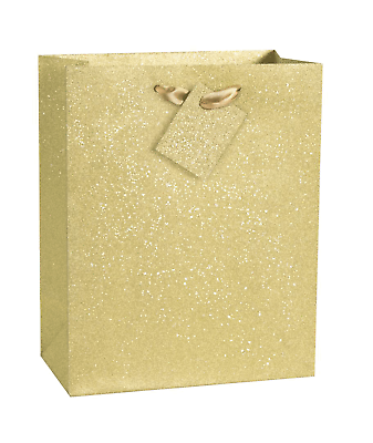 Christmas Xmas Gold Silver White Snowflake Foil Stamped Medium Gift Present Bag