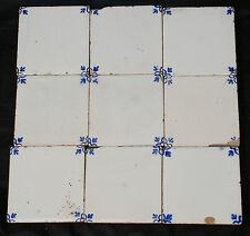 "Antique Vintage 9 Blue & White Small Ceramic Tiles 3"" square."