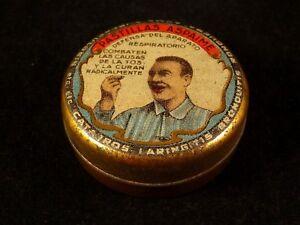 Objectif Ancienne Boîte Publicitaire Tôle Pastilles Respiratoires Espagnoles Pujol 1920 Limpide à Vue