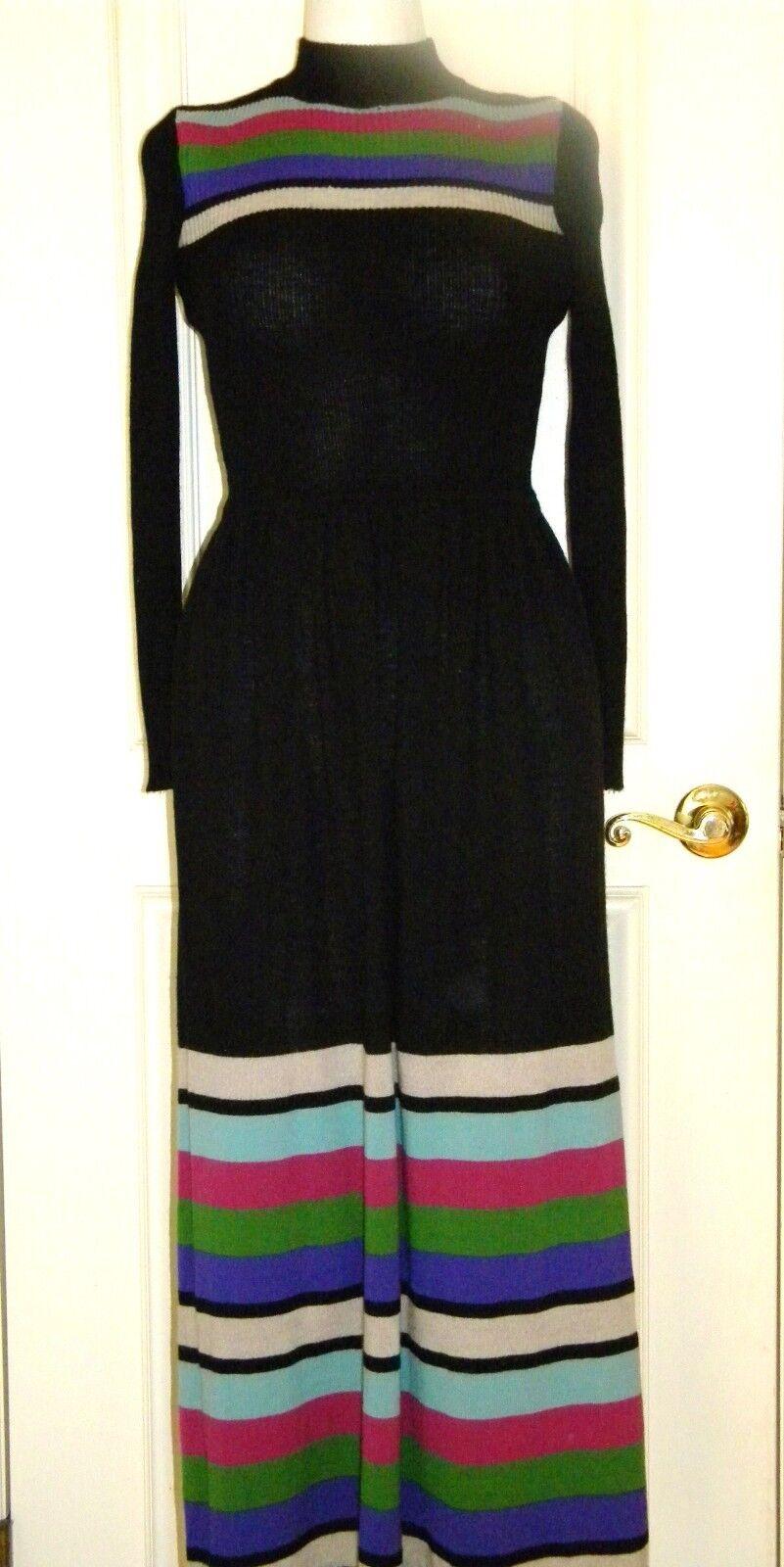 Vintage sweater dress Italian wool turtleneck maxi XS schwarz Farbe stripes