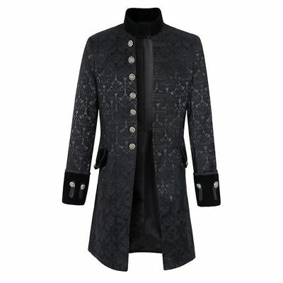 Mens Long Jacket Coat Gothic Steampunk Victorian Party Slim Parka Trench Outwear