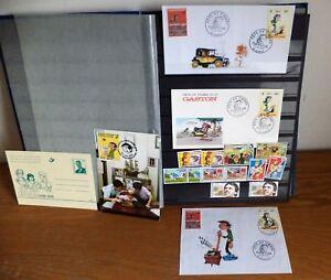 Superbe-ensemble-de-timbre-sur-Gaston-et-serie-d-039-enveloppe-emise-premier-jour