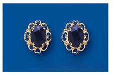 9ct Gelbgold Echter Saphir Ovale Ohrringe _ Britische Herstellung gekennzeichnet