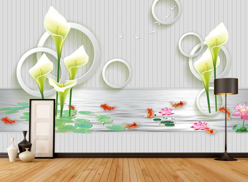 3D Blumen-Lotus-Teich 7 Tapete Wandgemälde Tapete Tapeten Bild Familie DE Summer