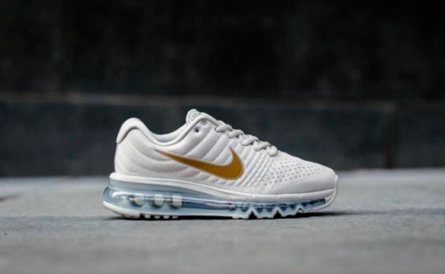 official photos 2390c 71ced Nike Air Max 2017 GS Running Trainers Shoes 851622 008 Light Bone Gold  Women's