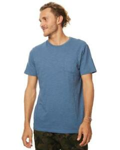 Rip-Curl-PLAIN-SLUB-TEE-Mens-Crew-Neck-T-Shirts-CTECY2-Dark-Teal