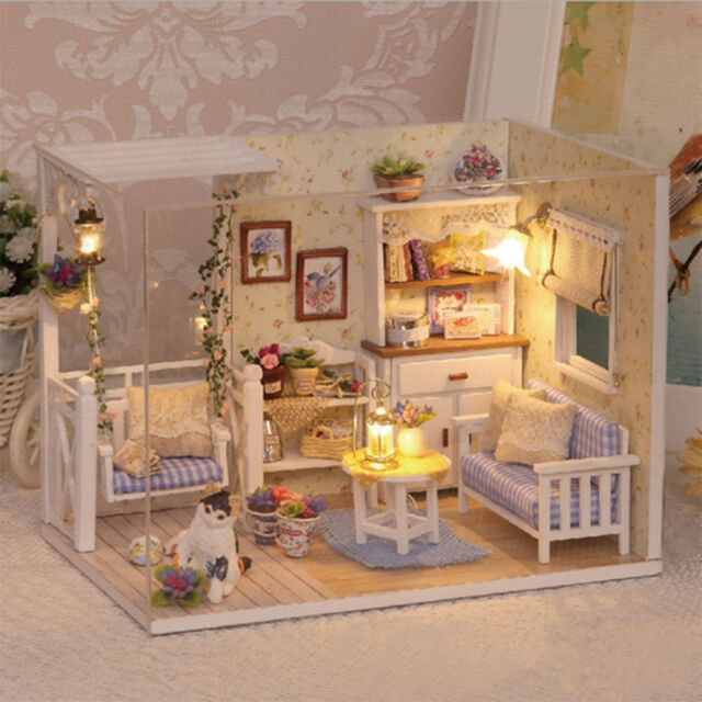 Doll House Furniture Kids Diy Miniature Dust Cover 3D Wooden Dollhouse Toys T3J
