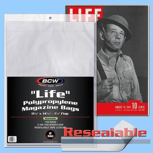 BCW LIFE MAGAZINE Size RESEALABLE Bags:11 1//8 x 14¼ 10pks//100ea *1000ct//CASELOT