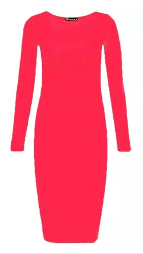 New Women Plus Size Scoop Neck Long Sleeve Jersey Stretchy Body con Midi Dress.