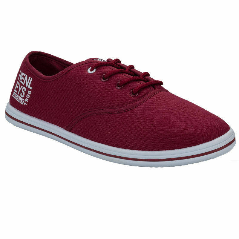 Homme HENLEYS Sport à Lacets Toile Escarpins Chaussures De Sport HENLEYS Baskets Tennis Escarpins Bordeaux beba9c