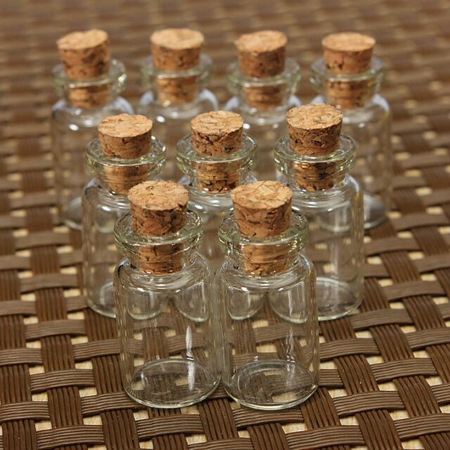 10/20/30/50 X MINI SMALL CORK STOPPER GLASS BOTTLES VIALS JARS 23 x 12mm GIFT
