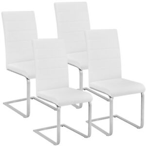 4x-Esszimmerstuhl-Freischwinger-Stuhl-Set-Stuehle-Polsterstuhl-Schwingstuhl-weiss