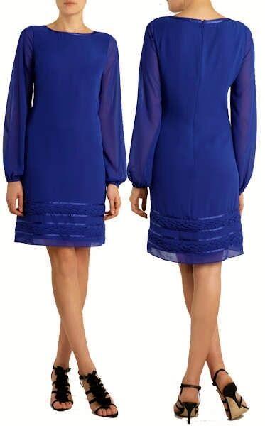 COAST RAPUNZEL SHEER Blau CHIFFON SHIFT DRESS Größe 12 TWICE