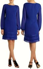 COAST RAPUNZEL SHEER BLUE CHIFFON SHIFT DRESS SIZE 8 TWICE £115