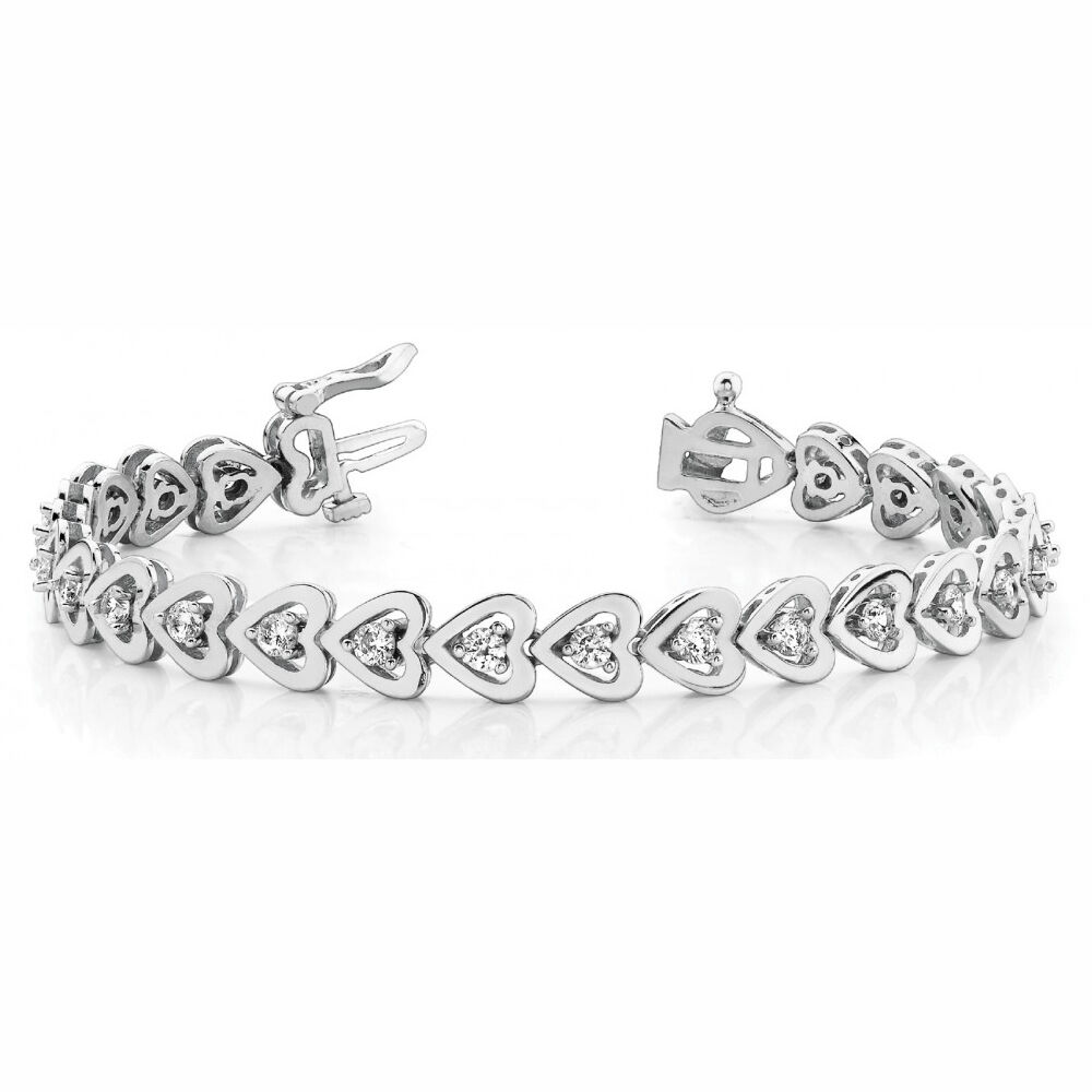 0.96 Carat SI1White Round Diamond Bracelet In Line Heart style 14k WG For Women