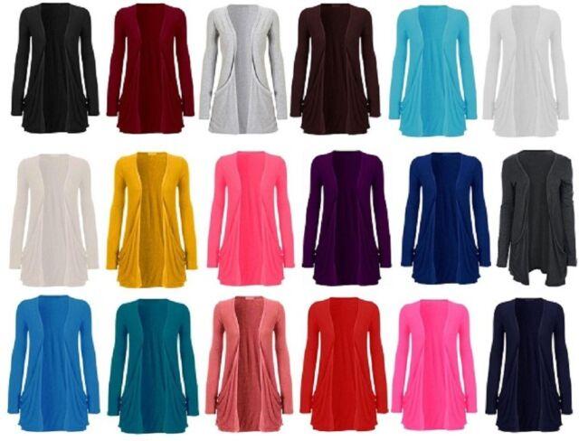 Womens Maternity Long Sleeve Pocket Cardigan Sweater Top US Size 8-24
