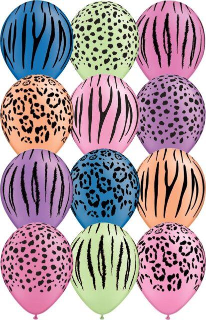 12 - 48 pc Neon Safari Animal Print Latex Balloons Happy Birthday Party Jungle