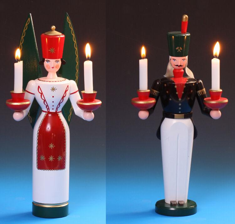 Ange et Bergmann en bois en couleur 36 cm Les Monts Métallifères Schalling Seiffen + Gratuit