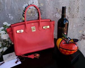 HERMES Birkin 30cm rouge red gold hardware leather bag purse togo ... 2b5aedf7bb572