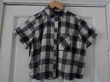 Topshop Petite Check Short Sleeve Shirt Black & Grey Size Uk 6