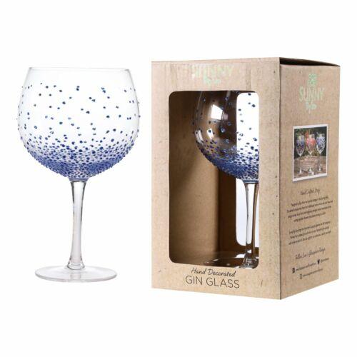 Sunny by Sue points bleus Grand Ballon Gin Copa verre peint à la main décoration cadeau