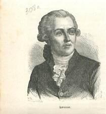 Antoine de Lavoisier 1743-1794 Paris chimiste philosophe GRAVURE 1883