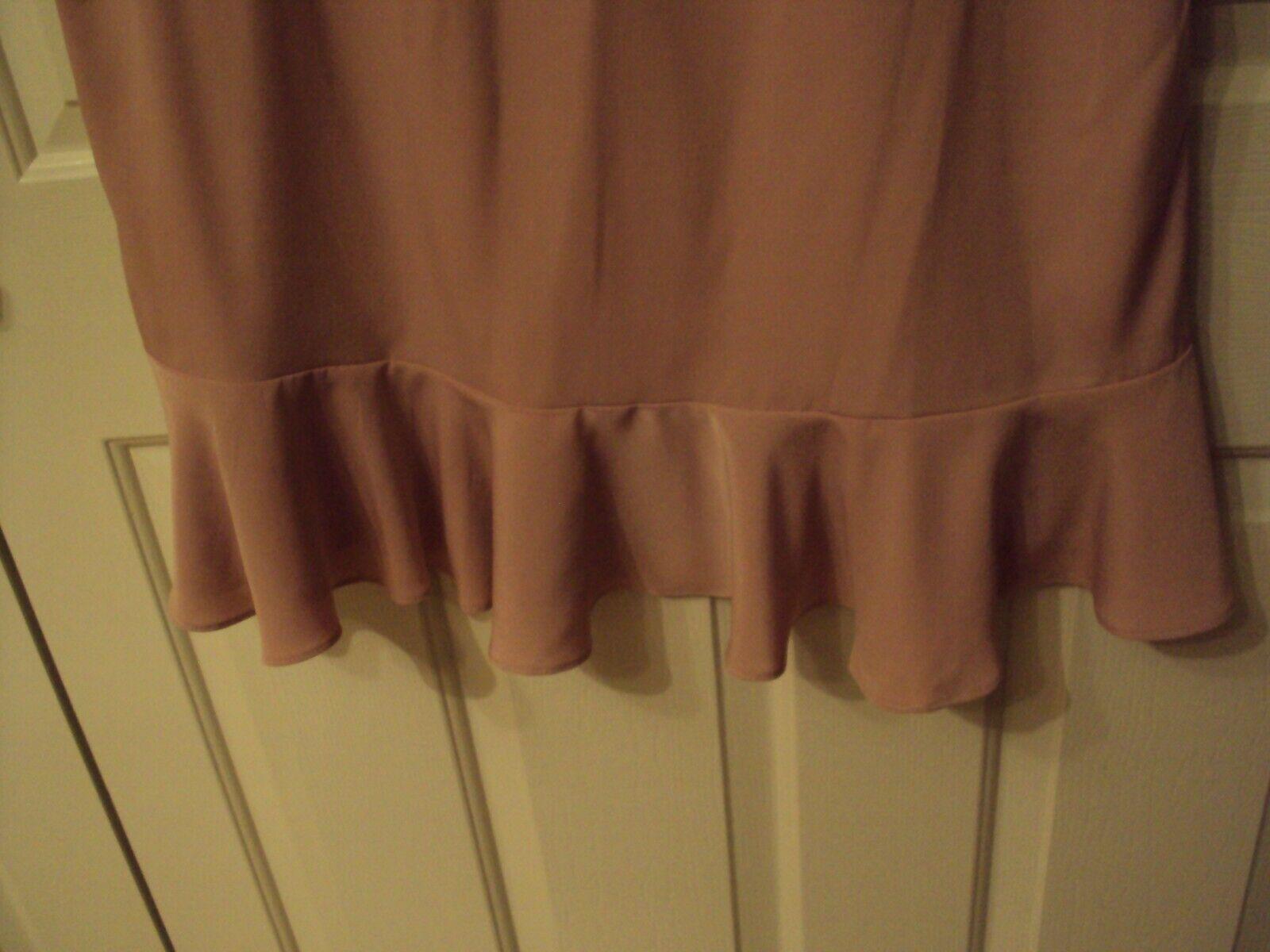 H & & & M  NEW WOMAN LONG RUFFLE DRESS SIZE 14 PALE pink 2b016b