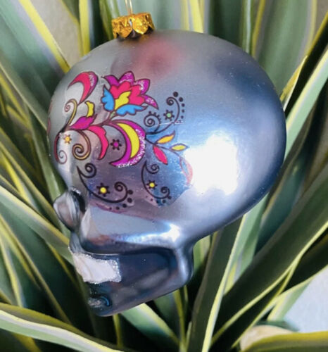 Details about  /Skull Glass Ornament Cinco De Mayo Mexico Muertos Mexican California Catholic