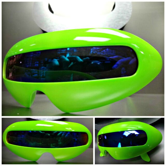 SPACE ROBOT PARTY RAVE CLUB CYCLOPS UNIQUE FUTURISTIC SHIELD SUN GLASSES Green