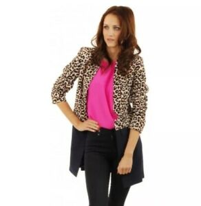 NEW-Finders-Keepers-Leopard-Print-Navy-Mid-Length-Open-Front-Jacket-Size-Medium