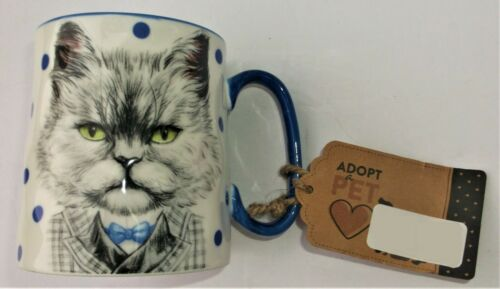 CAT in a SUIT STRAWBERRY STREET COFFEE MUG COLLECTIBLE CUP WHITE BLUE BLACK NEW