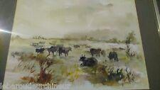 Peinture signée. Painting signed l LAROCHE HERSANT taureaux en camargue aquarell