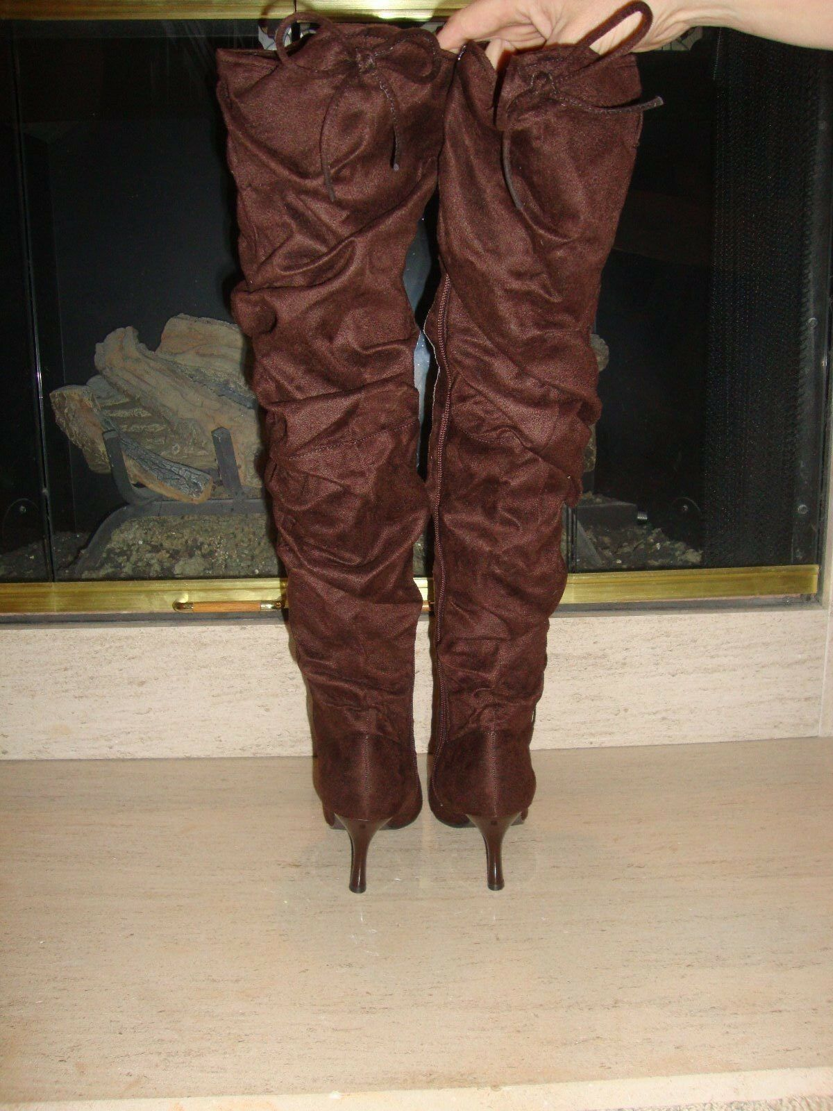 SEXY NEW OTK THIGH HIGH FAUX SUEDE OTK NEW SLOUCH BOOTS BY MISS ME IN BROWN 0c41cf