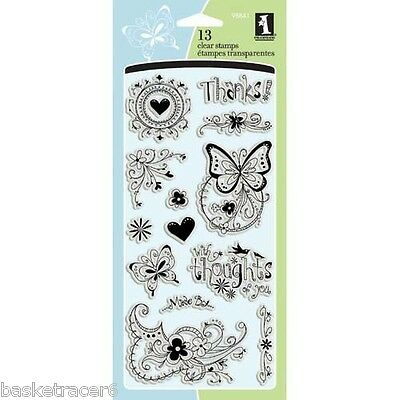 GARDEN WORDS Clear Stamps 97722 Inkadinkado 18 pc set flower dragonfly butterfly
