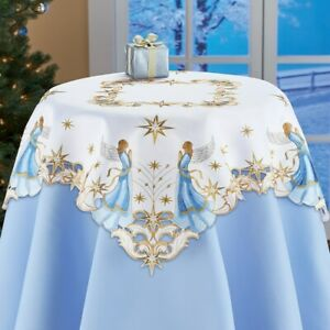 Exquisite Embroidered Angels w/ Star Accents Christmas Polyester Tablecloth