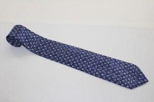 KR7153-Markenlos-Krawatte-Blau-Weiss-kariert-Sehr-gut