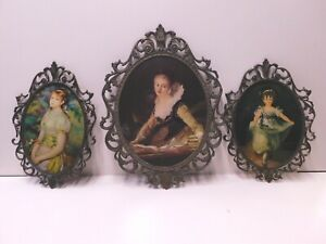 Vintage-Victorian-Brass-Metal-Oval-Ornate-Picture-Frame-Made-In-Italy-Set-of-3