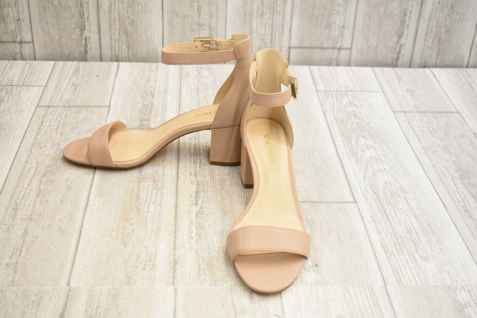 Nine West Fields Block Heel Sandal - Women's Size 7.5 M - Nude