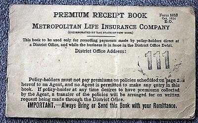 1924 Metropolitan Life Insurance Company Premium Receipt Book Met Life New York Books