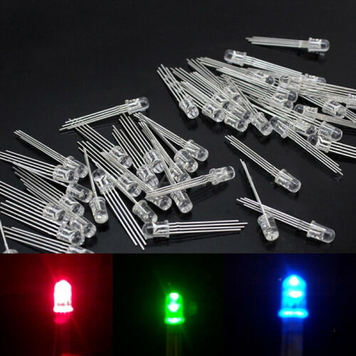 50Pcs 5mm 4-Pin RGB Tri-color Water Clear Common Anode LED Red Blue Green YXO