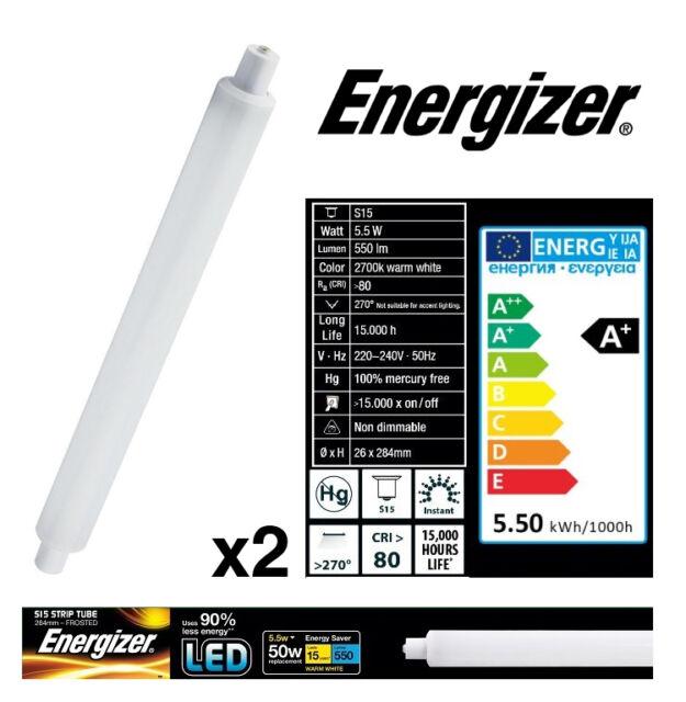 "2x S15 5.5w = 50w) Tira LED Luz Tubo 284mm Esmerilado Ã""palo (Energizer S9218)"