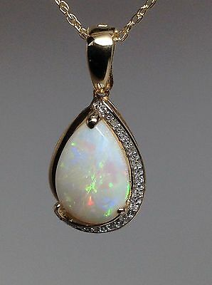 14K Yellow Gold Pear Shape Opal and Diamond Pendant with Pearl Enhancer Clasp